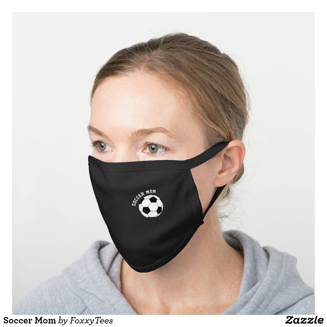Soccer Mom Black Cotton Face Mask Zazzle Com In 2020 Soccer Mom Soccer Dad Face Mask