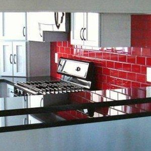 Red Glass Subway Tile Backsplash In Kitchen Glass Subway Tile