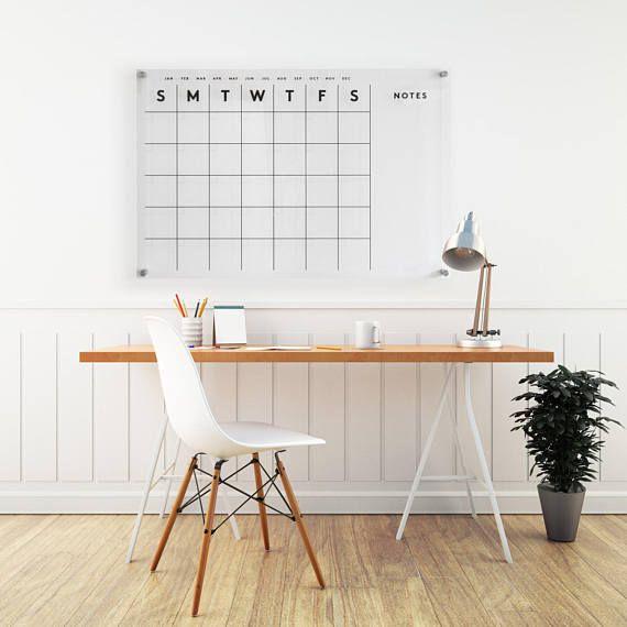 Acrylic Calendar MEDIUM W/side Notes Dry Erase Calendar
