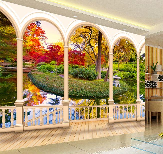 papier peint trompe l 39 oeil effet 3d personnalis paysage zen jardin traditionnel japonais. Black Bedroom Furniture Sets. Home Design Ideas