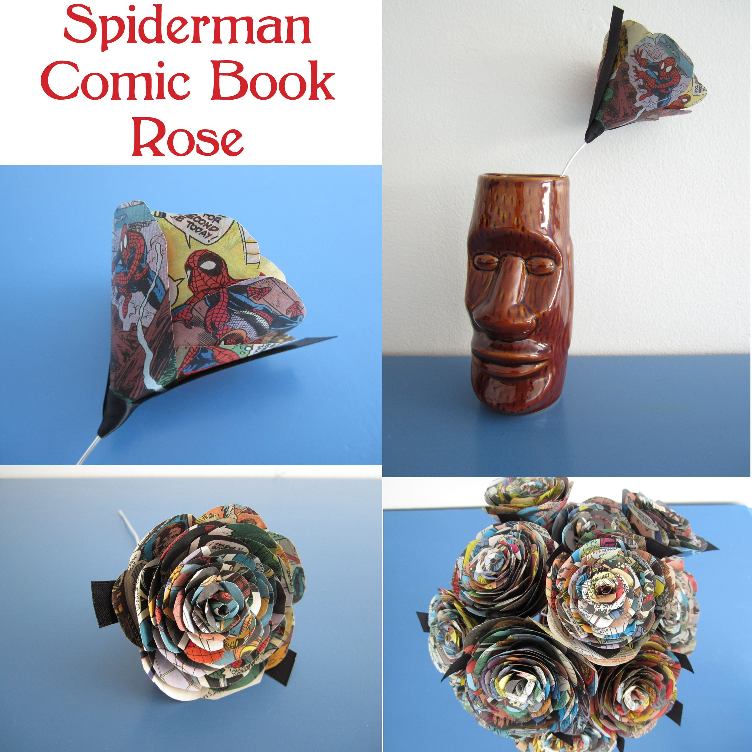 Upcycled Spiderman Comic Book Rose Upcycled Paper Flowers From
