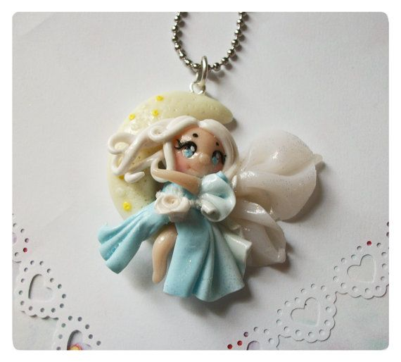 Moon fairy necklace pendent lunar celestial by FairysLiveHere