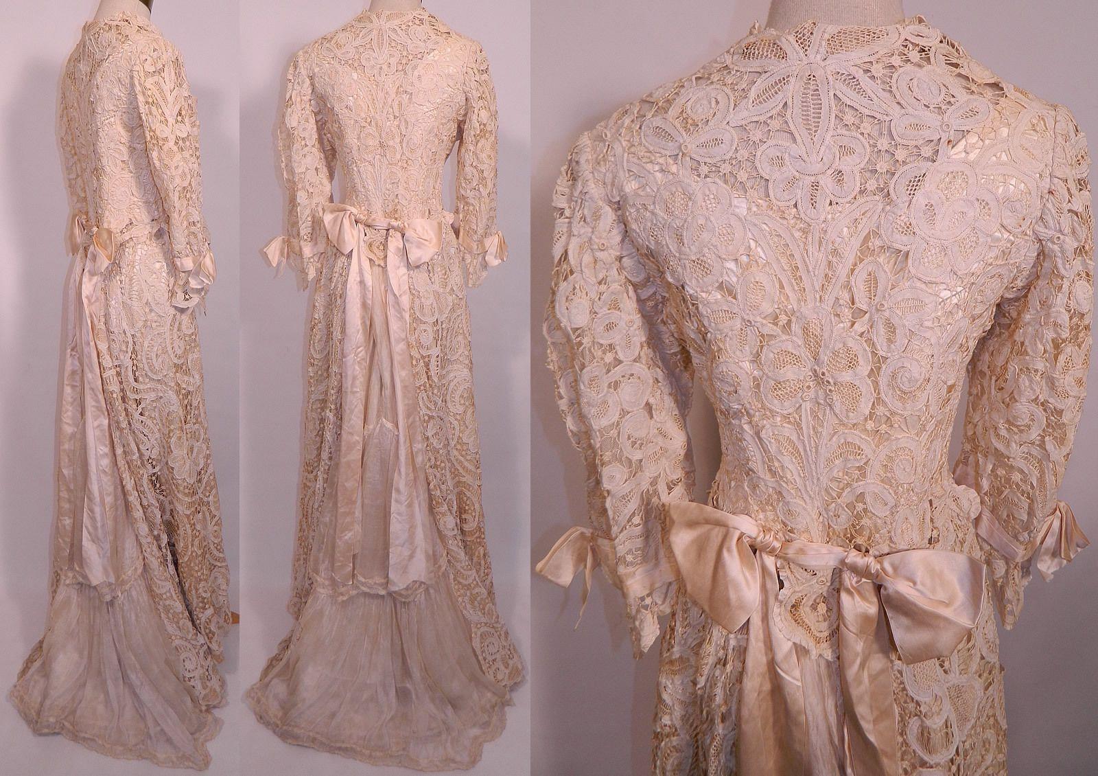Pic back views exquisite edwardian antique battenburg crochet