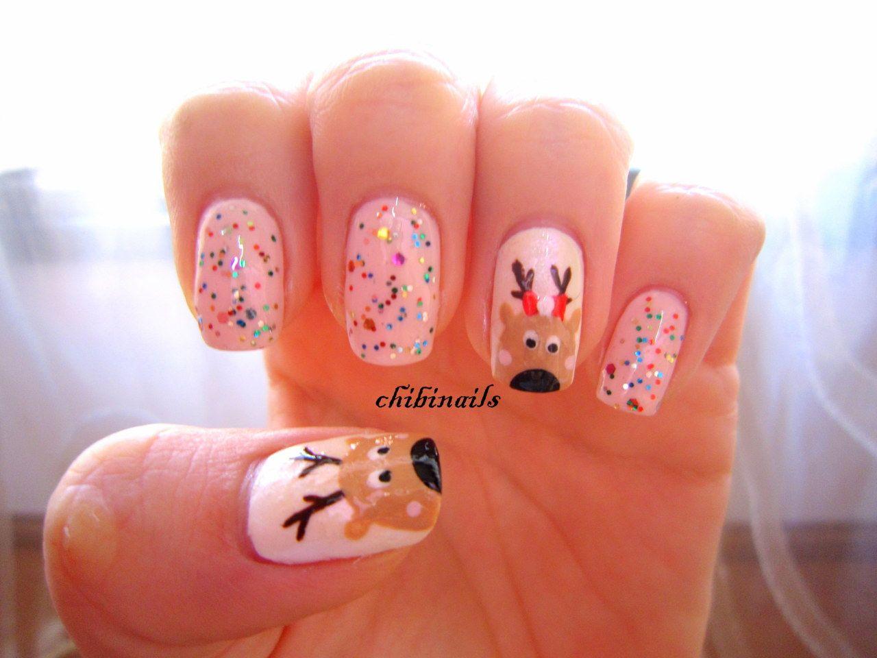 Chibi Nails: Reindeer Pink #christmas #nails. | Nails Nails Nails ...