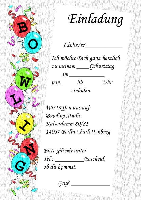Geburtstag kostenlos ausdrucken bowling einladungen Kindergeburtstag Einladungskarten