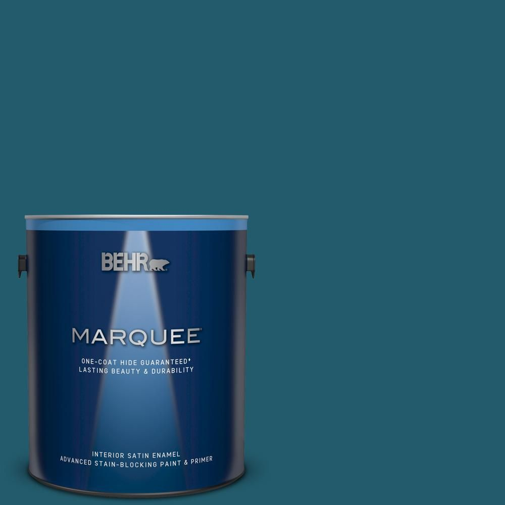 Behr Marquee 1 Gal T16 04 Galapagos Interior Satin Enamel Paint And Primer In One Behr Marquee Exterior Paint Behr