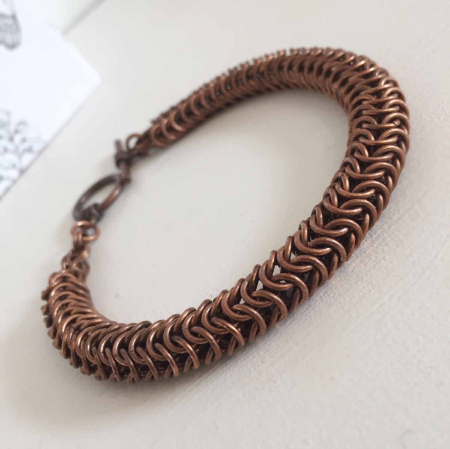Copper Bracelet Roundmail, Copper Jewelry Bracelet Gift, Antique Copper  Chain Maille Jewelry, Unisex Bracelet Gift For A Special Person