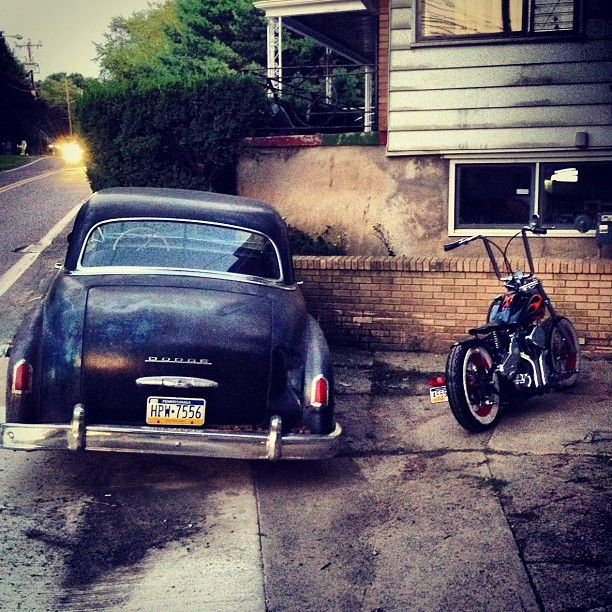 #1950 #dodge #coronet and #custom #50sstyle #bobber with a #100inch #elbruto (Taken with Instagram)