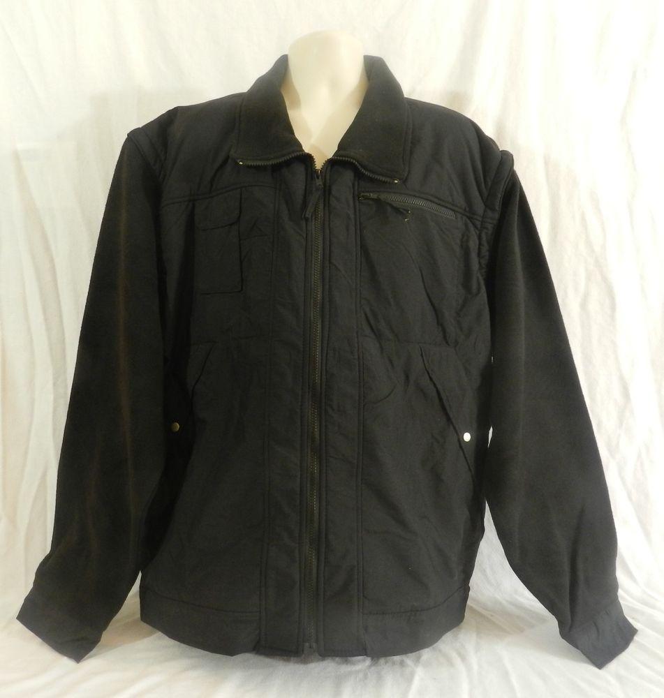 New condor fleece nylon zippered mens coat jacket vest removable