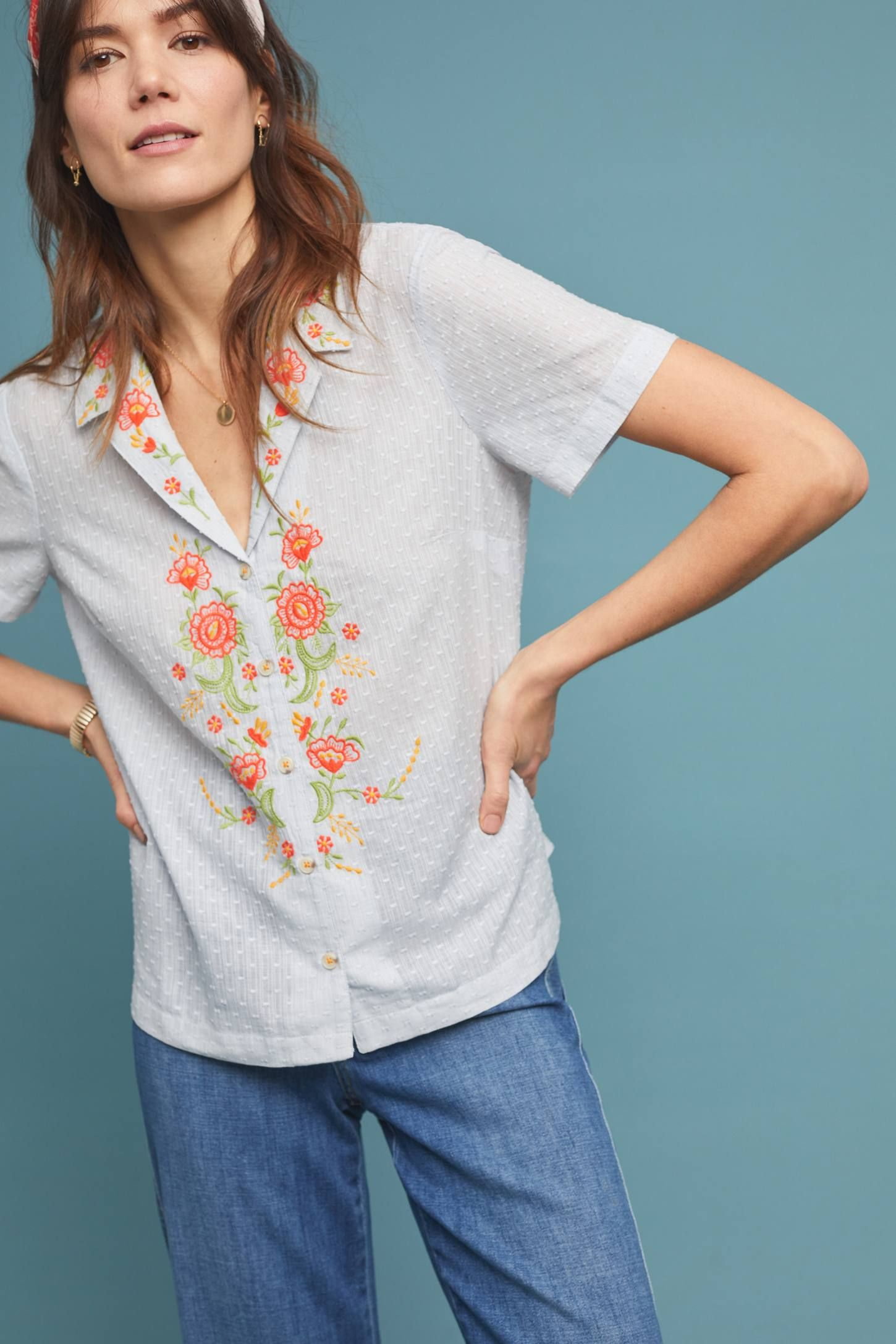 bb7eba99d57c91 Christie Embroidered Buttondown in 2019