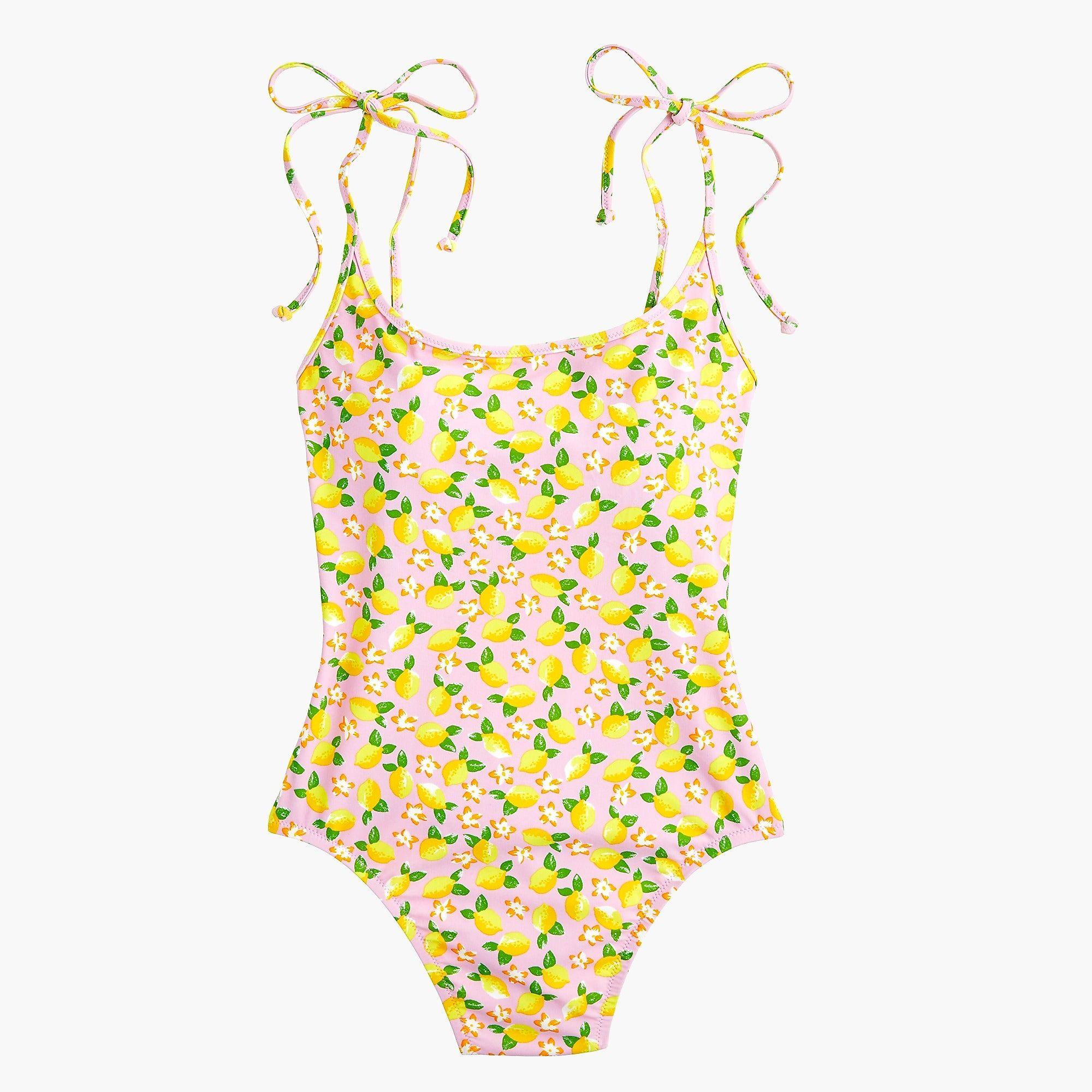 6c60bb873f J.Crew - Shoulder-tie one-piece swimsuit in lemon print. Shop the Women's  ...