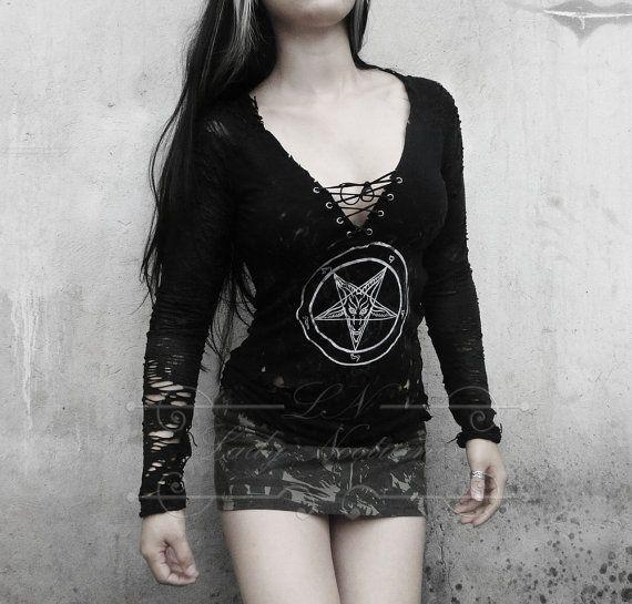 99eb4df9e693a6 Destroyed Pentagram baphomet devil tank top by LadyNocturnisstore ...