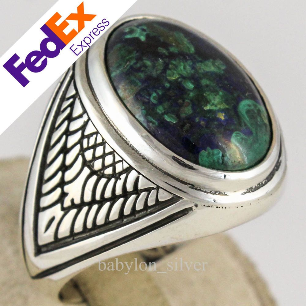 Natural Azurite Stone 925 Sterling Silver Turkish Handmade Men S Ring 13 25 Us Rings For Men Silver 925 Sterling Silver