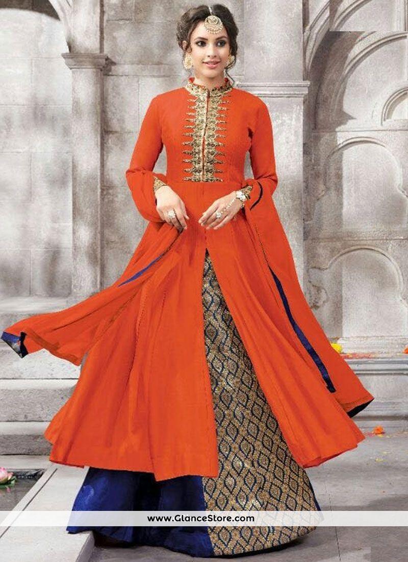 Navy blue and orange embroidered work lehenga choli wedding