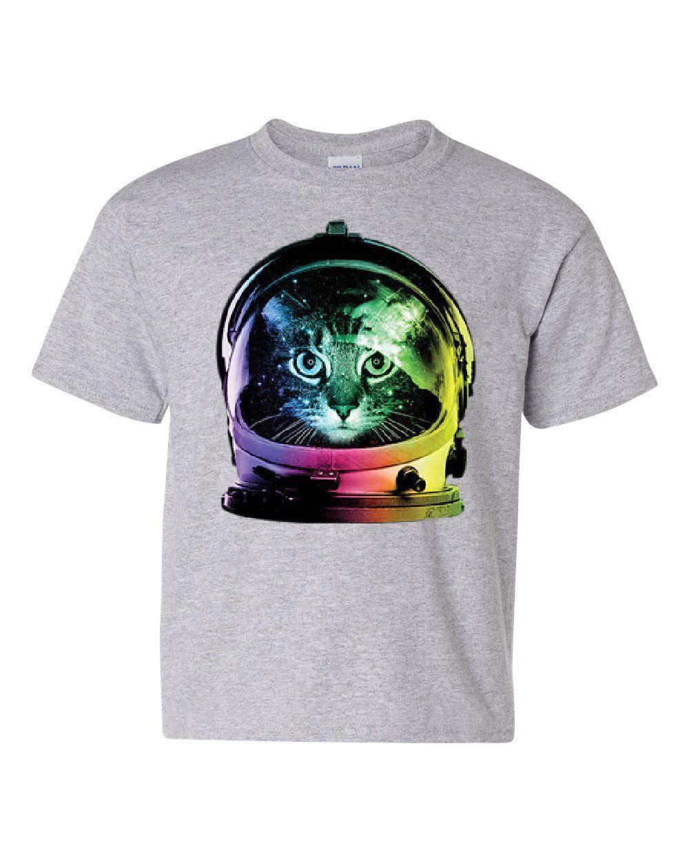 Space Cat Youth T Shirt Astronaut Kitten Neon Galaxy Tee Shirts T Shirt T Shirts For Women