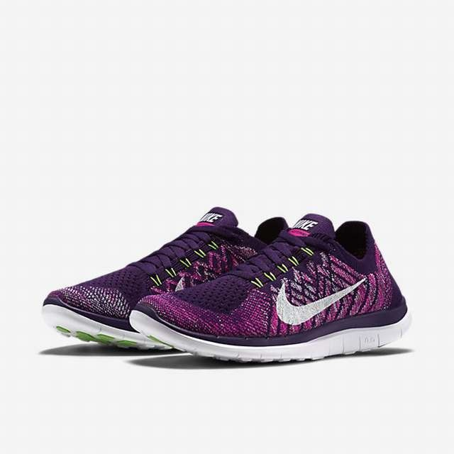 75eb9a28541 ... Nike Grand Purple Pink Foil White Womens Green Glow Free 4.0 Flyknit  Running Shoes ...
