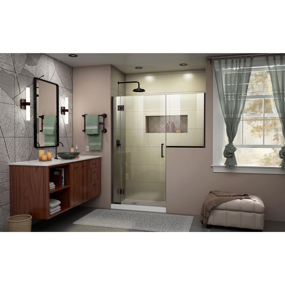 Dreamline Unidoor X 60 To 60 5 In X 72 In Frameless Hinged Shower Door In Oil Rubbed Bronze D1302434 06 The Home Depot Shower Doors Frameless Hinged Shower Door Frameless Shower Doors