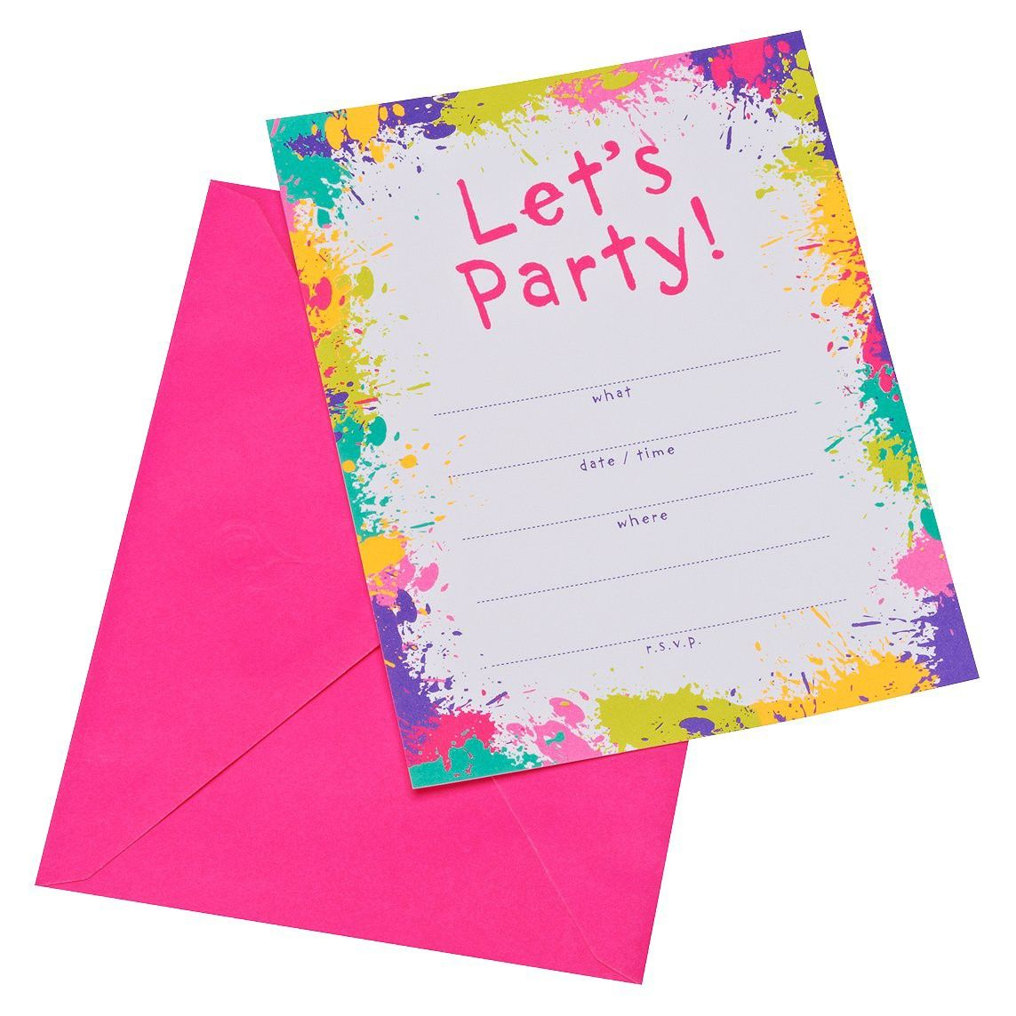 Neon Let\'s Party! Party Invitations (10 count) : Target | Rock On ...