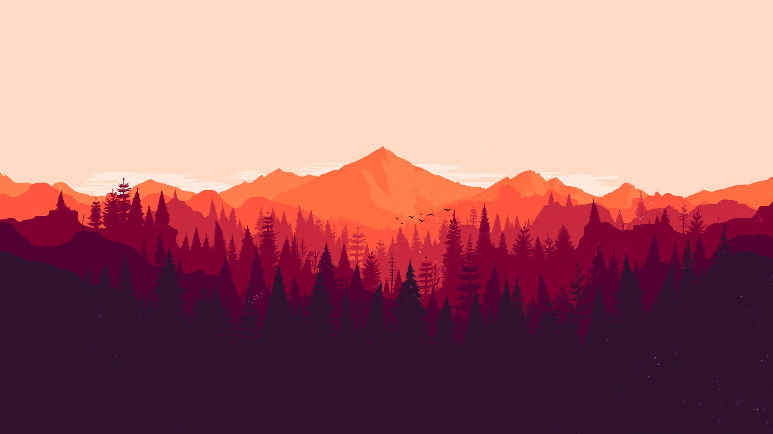 Silhouette Of Trees Forest Firewatch Minimalism Orange Red Pine Trees 2k Wallpaper Hdwallpaper Desktop Firewatch 4k Wallpaper 3840x2160 Wallpaper