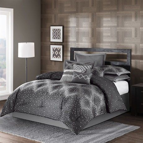Madison park harlow 10 piece comforter set charcoal for Harlowe bed