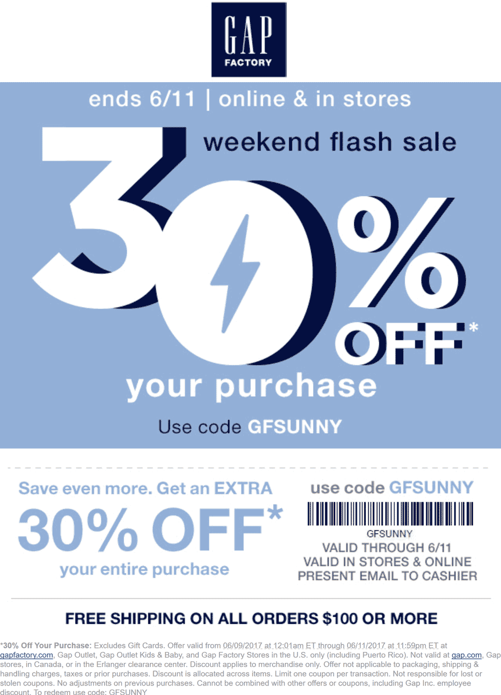 Pinned June 9th 30 Off At Gap Factory Or Online Via Promo Code Gfsunny Thecouponsapp Shopping Coupons Gap Coupons