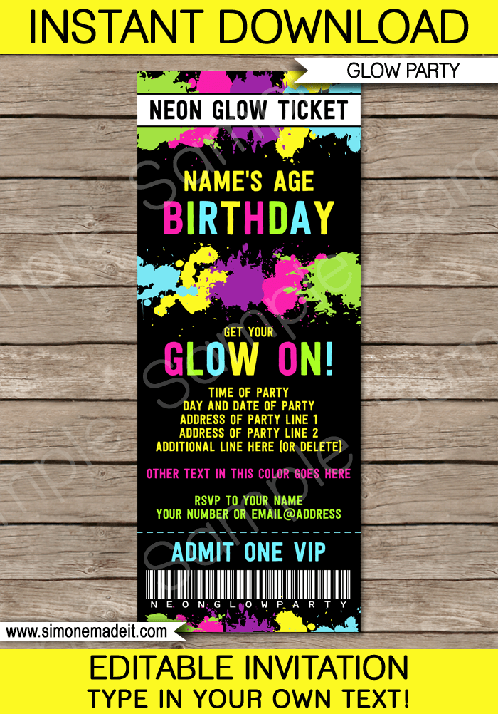 Neon Glow Party Ticket Invitation Template Party Ideas Glow