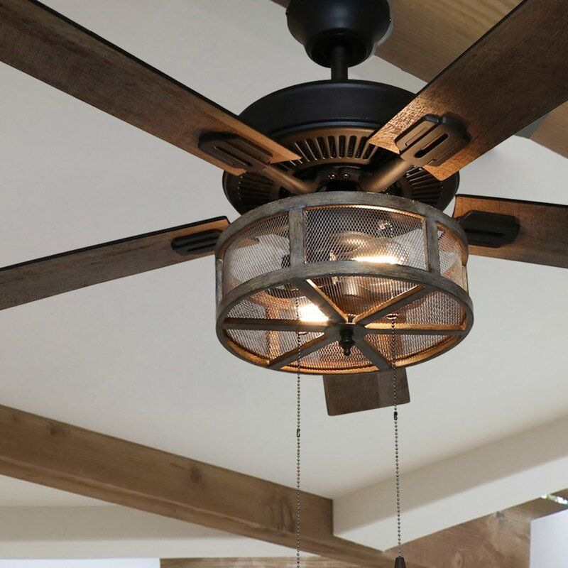 52 Abbigail Woodgrain Caged Farmhouse 5 Blade Ceiling Fan Light Kit Included En 2020 Ventiladores De Techo Techo De Metal Techo