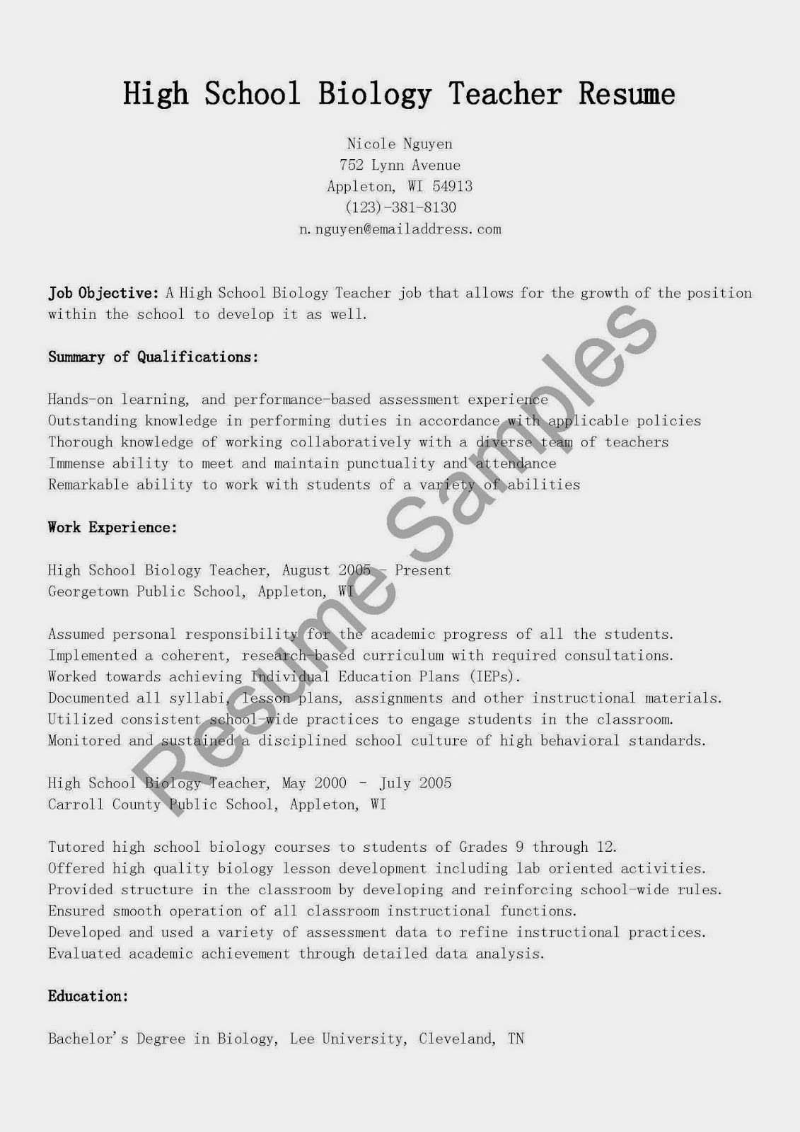 resume samples high school biology teacher sample for accountant pdf format financial analyst positive objective