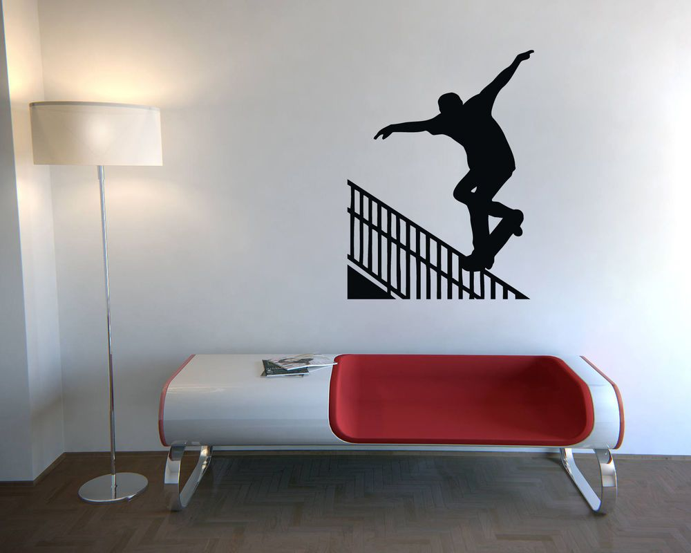 WALL VINYL STICKER DECALS ART MURAL SKATEBOARDING NOSEGRIND RAIL STYLE  N159 #MuralArtDecals