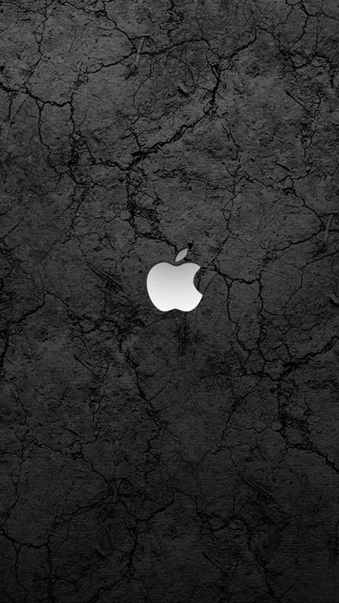 Apple Logo On A Cracked Cement Background