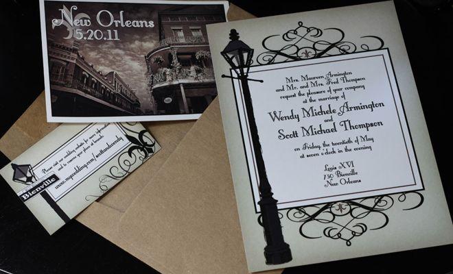 NOLA Vintage Wedding New Orleans Wedding Invite New Orleans Wedding New Orleans Vintage Map Invite New Orleans Wedding Invitation