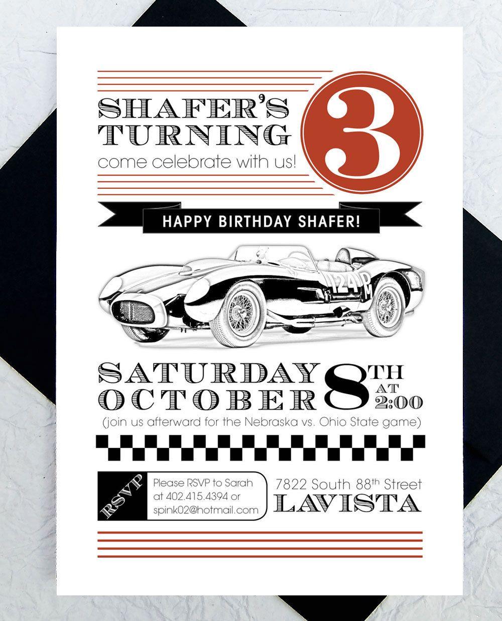 Race Car Party Invitation -- PDF Custom Printable, Birthday Party ...