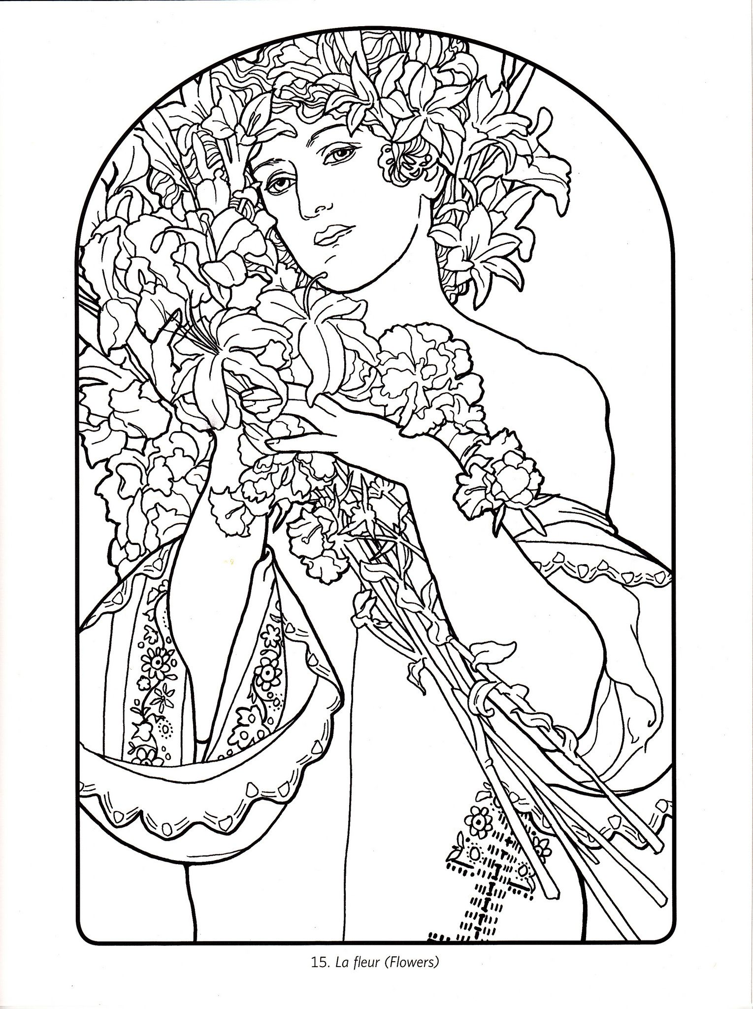 coloring pages colouring alphonse mucha art nouveau art deco