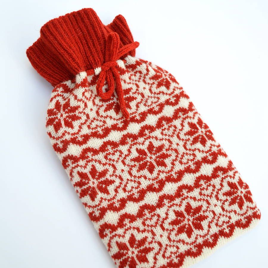 Scandinavian Knitted Hot Water Bottle Cosy | Water bottles, Cosy and ...