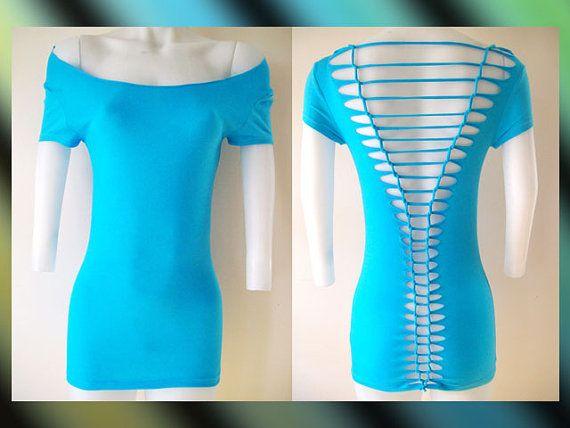 Womens / Juniors Blank Turquoise Top Cut Shirt Series Off Shoulder Size Small, Medium, Large, XL, 2XL, 3XL Shredded T