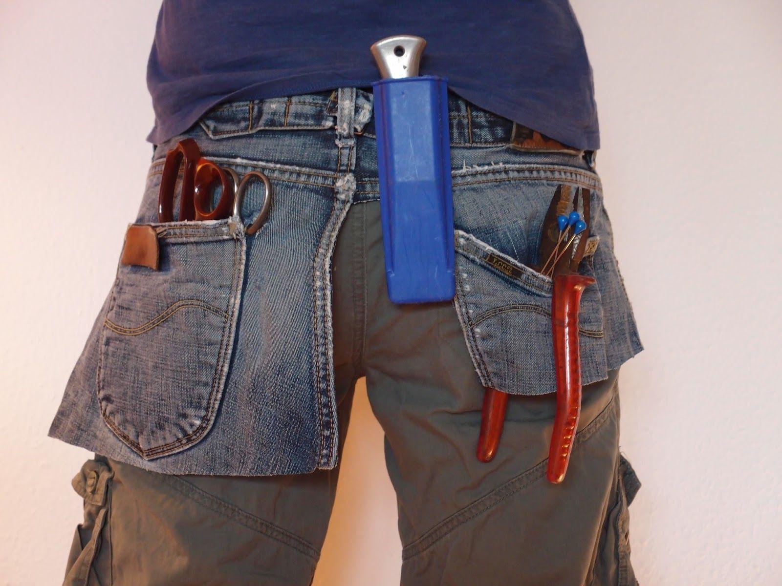 Werkzeuggürtel aus alter Jeans / Tool belt made of an old pair of ...