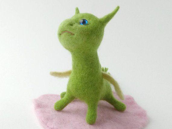 Needle felt dinosaur, Felt dragon, Soft wool sculpture, Gift for girl