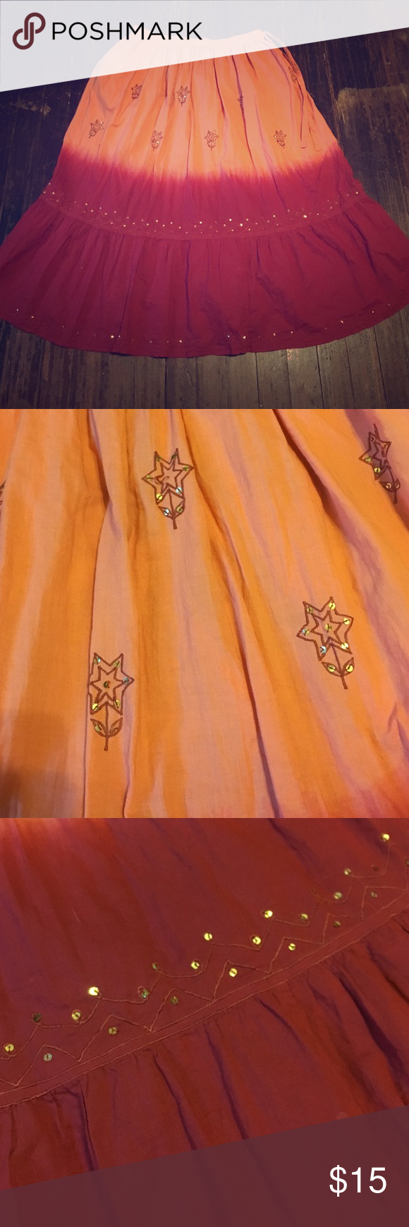 Embroidered and sequined beautiful ombré skirt Gorgeous ombré orange to red skirt with embroidery and sequin accents. Venezia Skirts Circle & Skater