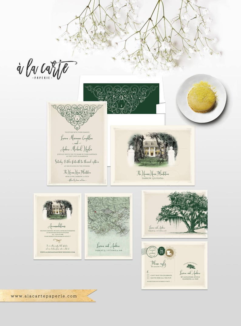 Vintage Oak Tree Spanish Moss Illustrated Wedding