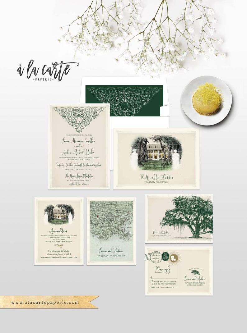 Vintage Oak Tree Spanish Moss Illustrated Wedding