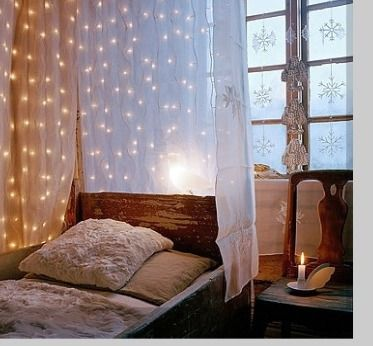 Lighted Bed Canopy & String Lights In The Bedroom | Light canopy Canopy and Lights