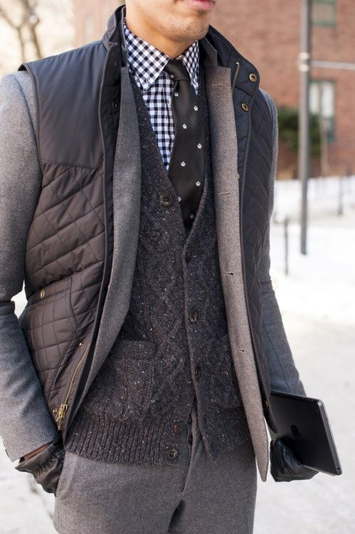 Men's Charcoal Quilted Gilet, Grey Wool Suit, Charcoal Knit Cardigan, Navy and White Gingham Dress Shirt