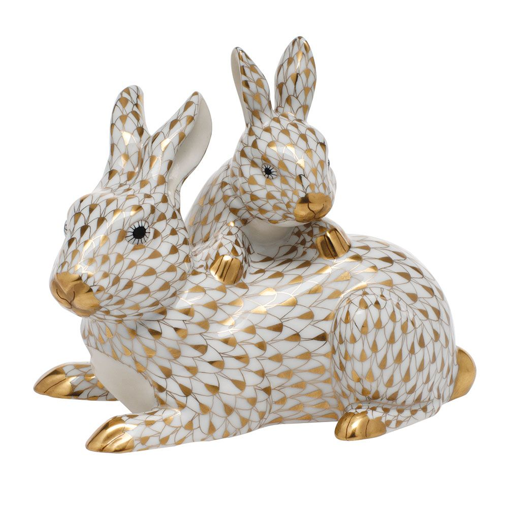 Herend Hand Painted Porcelain Figurine Mother Bunny & Baby Multicolor Gold Fishnet Gold Accents.