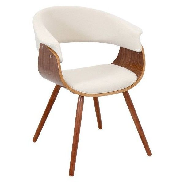 LumiSource Vintage Mod Chair Walnut + Cream Found On Polyvore Featuring  Home, Furniture, Chairs