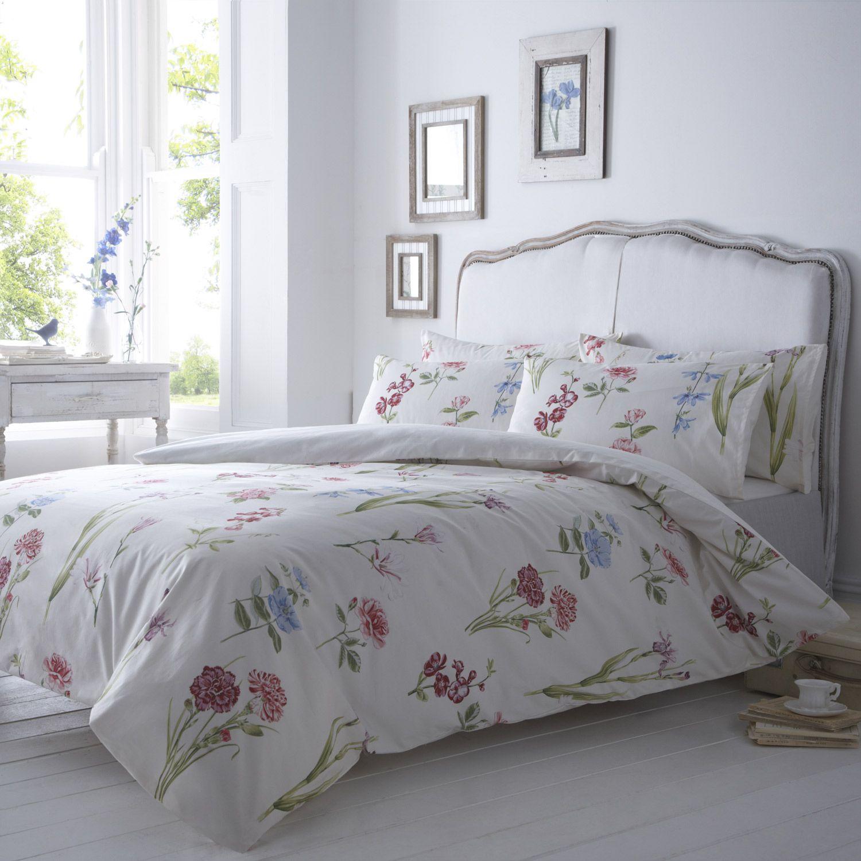 Vantona Imogen Floral Design Duvet Cover Set Multi / Red