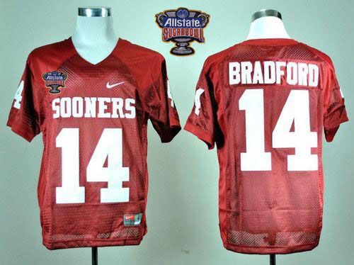 8d73f3869 Sooners  14 Sam Bradford Red 2014 Sugar Bowl Patch Stitched NCAA Jersey