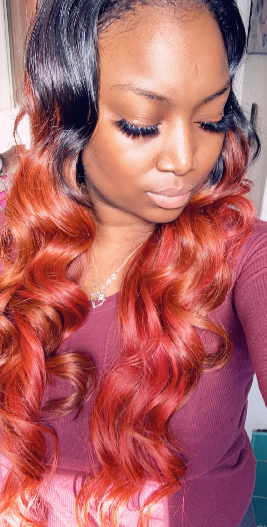 Orange And Red Wand Curls Brazilian Body Wave Hair Styles