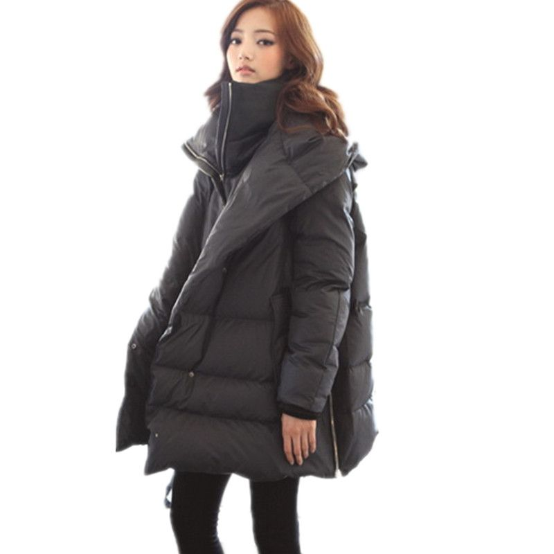 Warm Down Coats Women Long Sleeve Solid A Line Long Parka Padded ...
