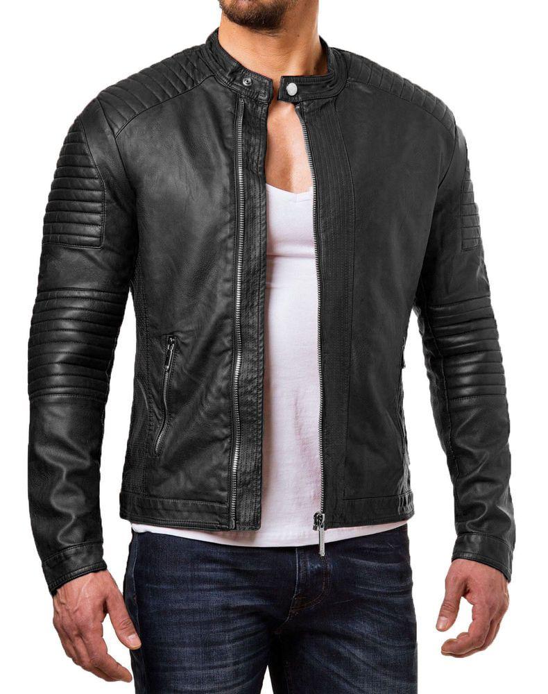 Men S Real Lambskin Leather Jacket Biker Motorcycle Style Slim Fit