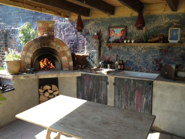 Covered Outdoor Kitchen With Wood Fired Pizza Oven Sink And Barbecue Manchester Covered Outdoor Kitchens Pizza Oven Outdoor Outdoor Pizza